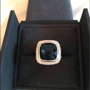 David Yurman 14mm Albion Topaz Diamond Ring SZ 7